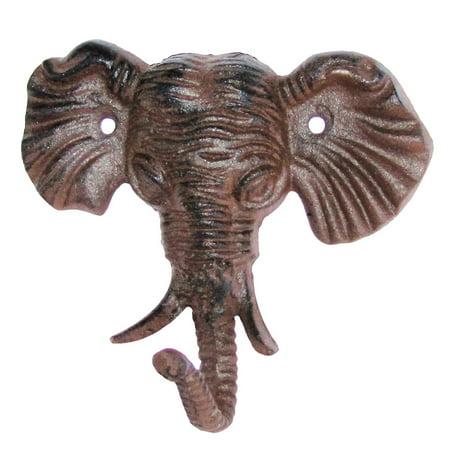 - Cast Iron Wall Mount Male Elephant Head Hook coat hat key ring bath towel rack