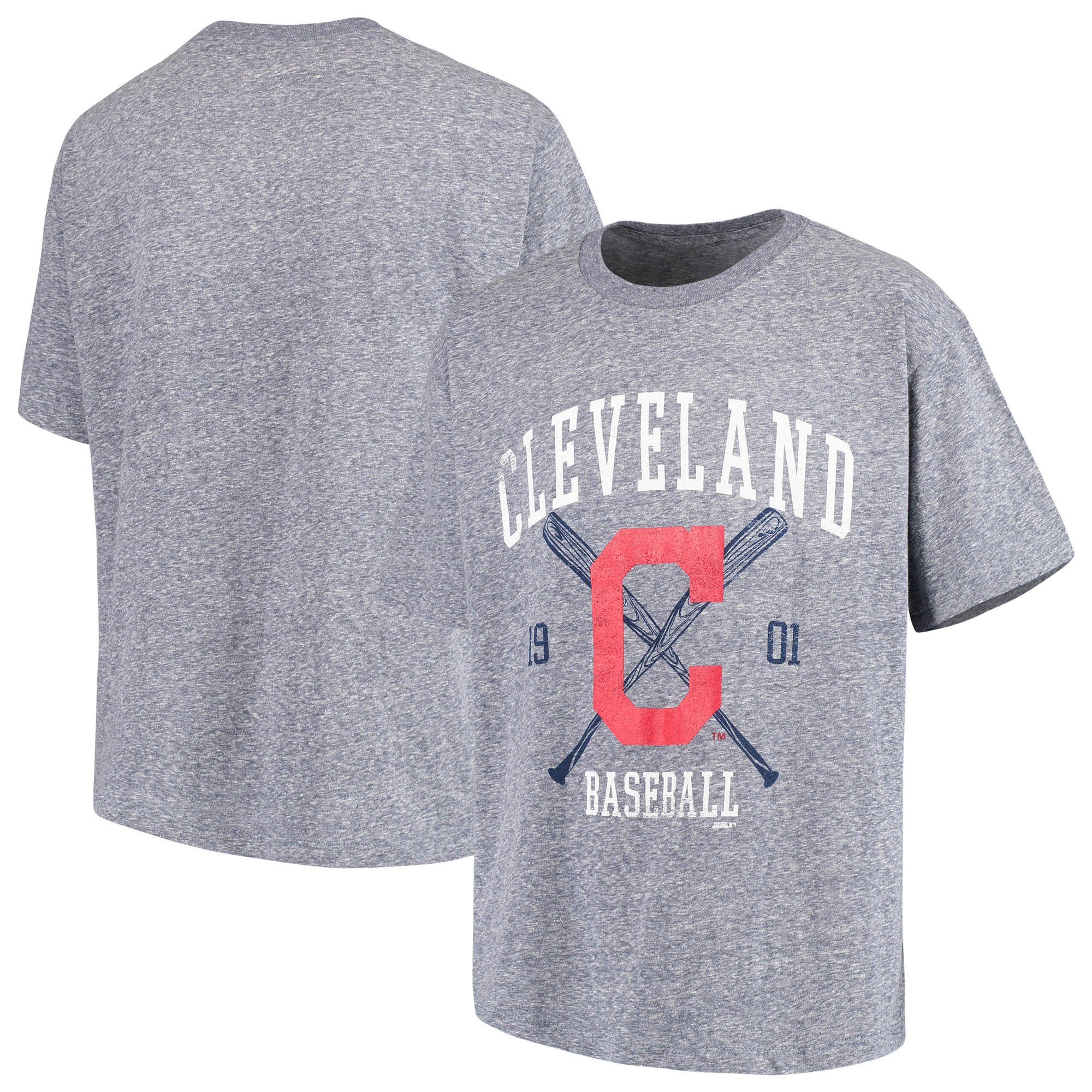 Cleveland Indians Youth Heather T-Shirt - Navy