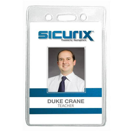 Baumgartens 67820 2.75 x 4.12 in. Sicurix ID Badge Holder, Vertical - Clear, 12 Per Pack