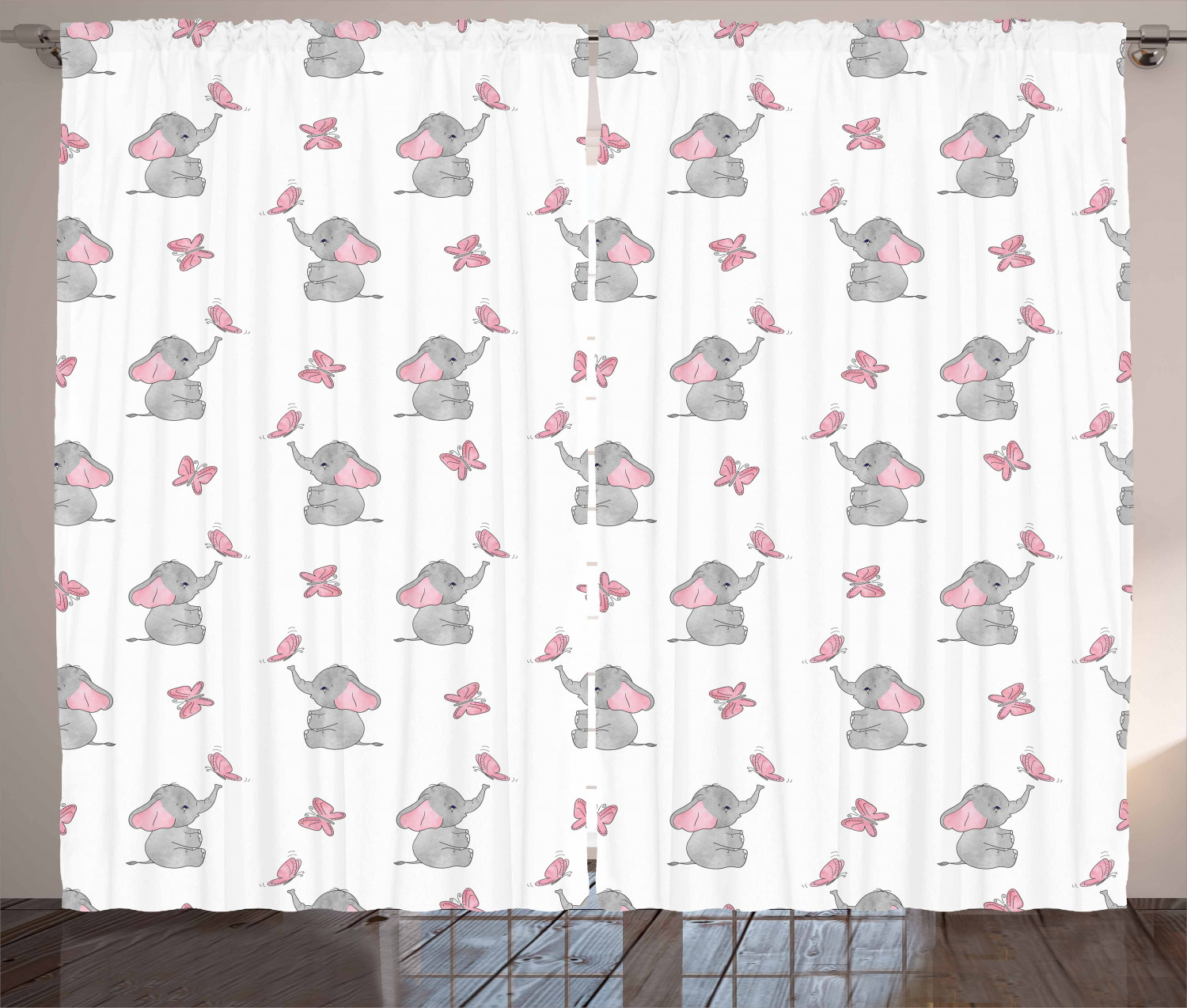 Elephant Nursery Curtains 2 Panels Set Baby Elephants Playing With Erflies Design Lovely Pattern Window D For Living Room Bedroom 108w X