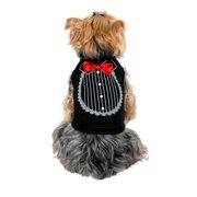 Black Red Satin Bow Tie Tuxedo Soft Tee For Dog - Medium (Gift for Pet)