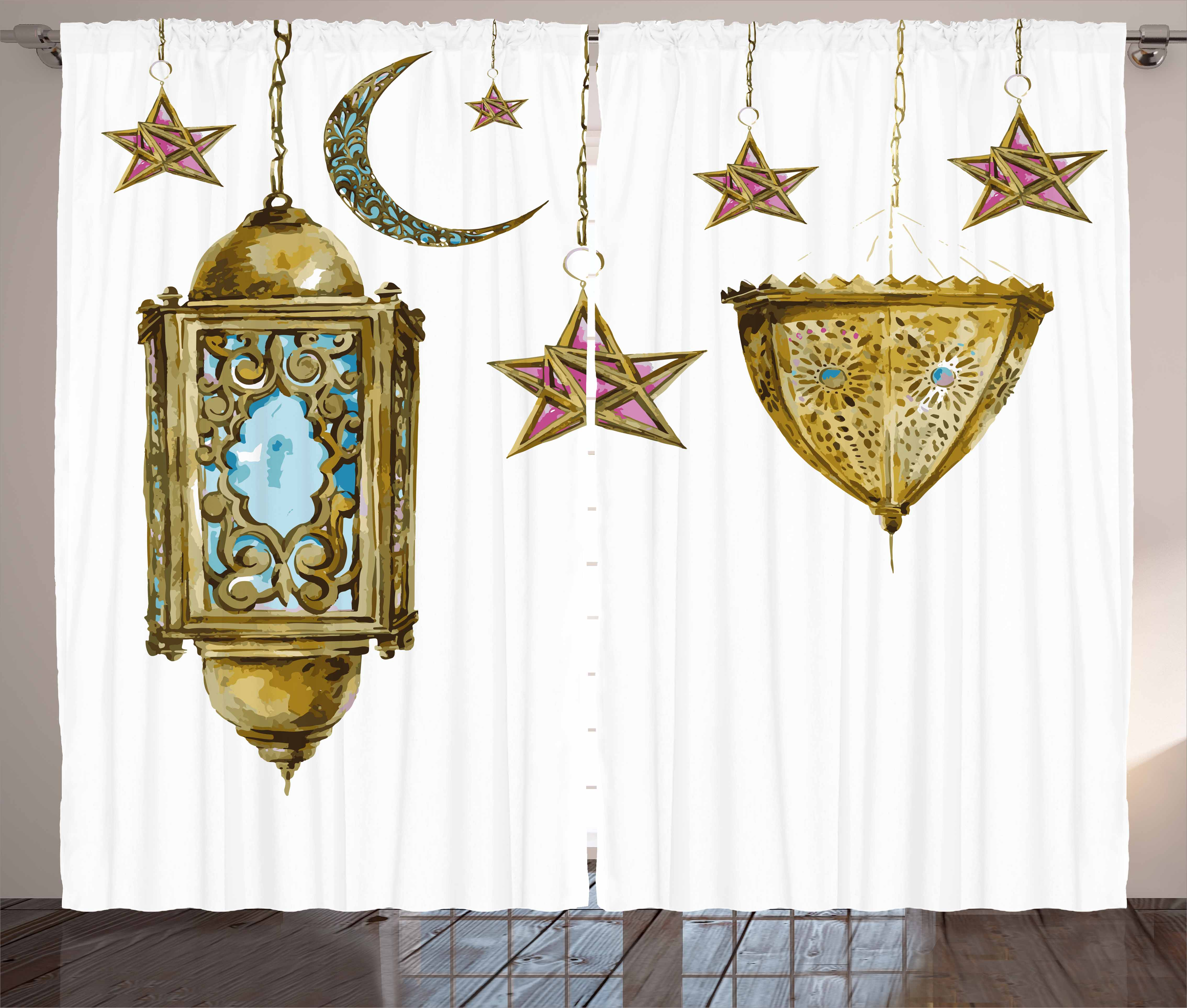 Lantern Curtains 2 Panels Set, Traditional Hand Drawn Watercolor Crescents and... by Kozmos