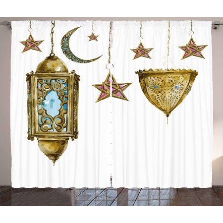 Lantern Curtains 2 Panels Set, Traditional Hand Drawn Watercolor Crescents and Stars Islamic Items Ramadan, Window Drapes for Living Room Bedroom, 108W X 63L Inches, Marigold Pink Blue, by Ambesonne