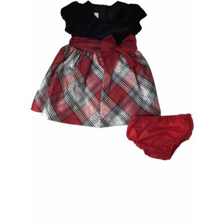 Girls Red Black Velvet Silver Accented Tartan Holiday Plaid Party Dress  - Size - 12 Months (Tartan Plaid Dress)