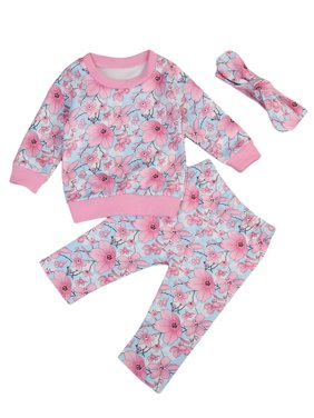 Newborn Toddler Kids Baby Girls Flowers Long Sleeve Tops Sweatshirt Pants Clothes Outfits