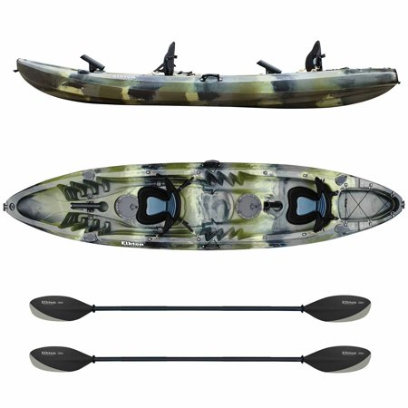 Elkton Outdoors Tandem Kayak: 12 Foot Sit On Top Fishing Kayak With Included Paddles, Rod Holders and Dry Storage