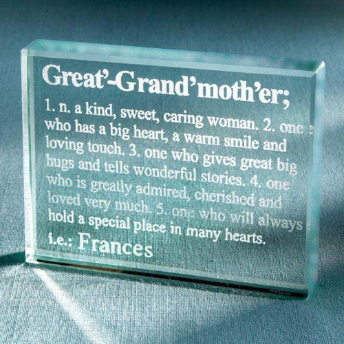 Personalized Great-Grandmother Definition Glass Block