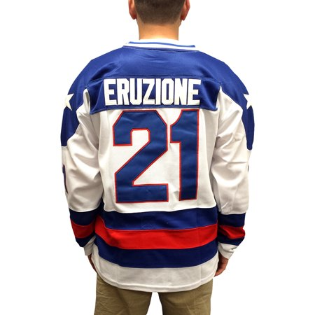 Mike Eruzione  21 Team Usa White Hockey Jersey Miracle On Ice Captain C Movie