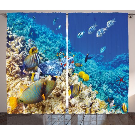 Ocean Decor Curtains 2 Panels Set  Barrier Reefs Covered Sea With Lagoon Zebrafish Anemonefish Picture  Window Drapes For Living Room Bedroom  108W X 84L Inches  Turquoise Light Yellow  By Ambesonne