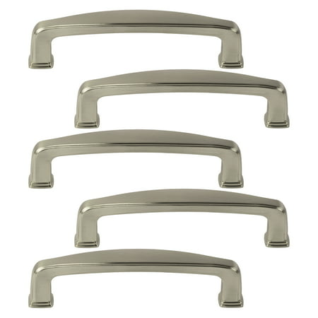 5 Pack of Brushed Satin Nickel Cabinet Hardware Square Modern Pull Door Handles