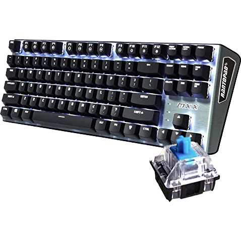 Mechanical Gaming Keyboard Blue Switches White Backlight Gray Aluminum Top Cover