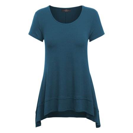 Double Layer Tunic - WT1189 Womens Short Sleeve Double Layer Tunic Top L Teal