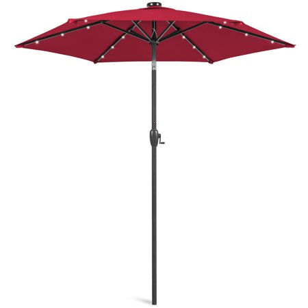 Image of Best Choice Products 7.5ft Outdoor Solar Patio Umbrella for Deck, Pool w/ Tilt, Crank, LED Lights - Red