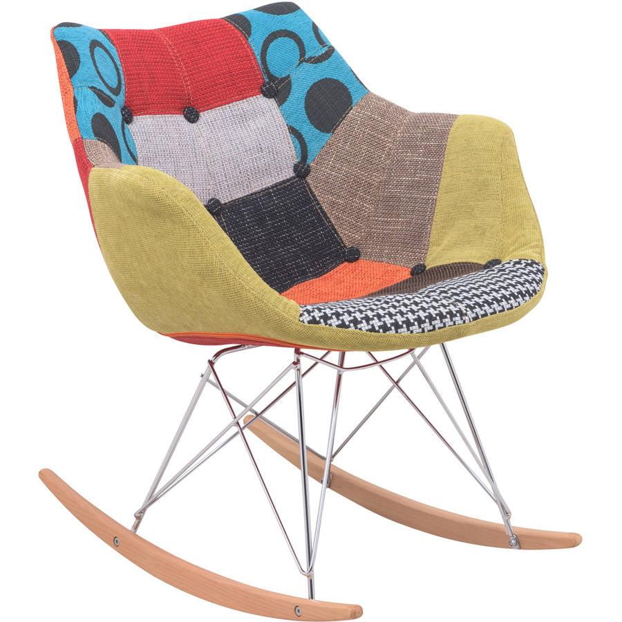 LeisureMod Inc. LeisureMod Willow Patchwork Fabric Eiffel Rocking Chair