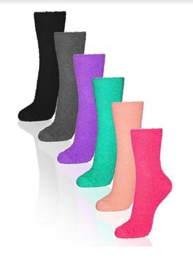 6 Pairs Women's Cozy Slipper Socks Fuzzy Sock Multi Color