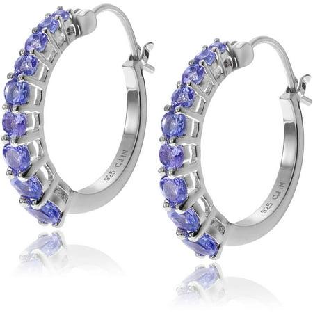 Brinley Co. Women's Tanzanite Rhodium-Plated Sterling Silver Hoop Earrings