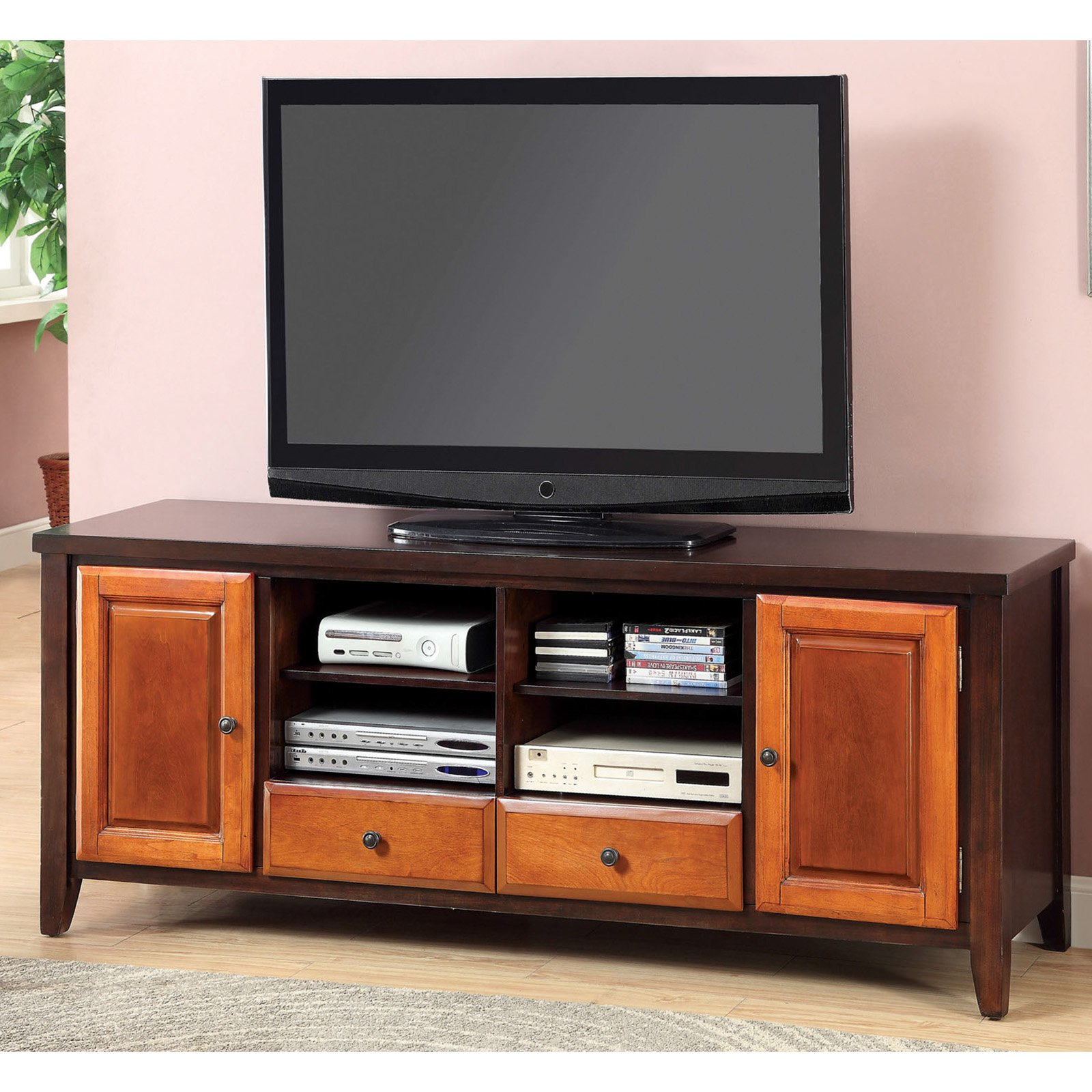 Furniture of America 72 in. DuoTone Media Cabinet with Storage Cabinet Dark Oak   Cherry by Furniture of America