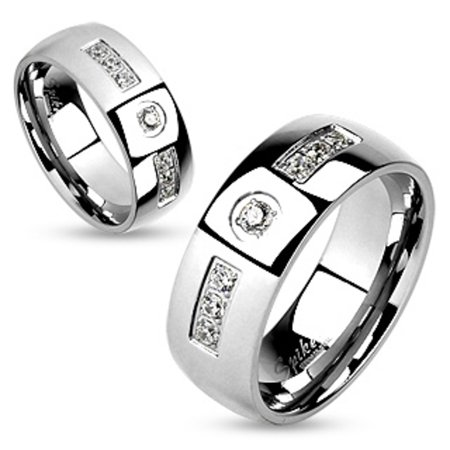 Spikes Stainless Steel Comfort Fit Cubic Zirconia Couples Ring