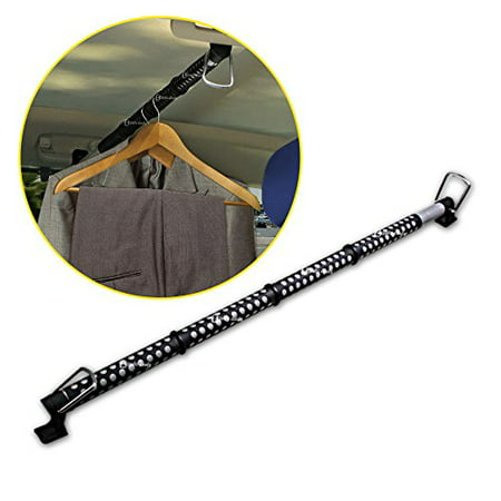 Zento Deals Heavy Duty Expandable Clothes Bar Car Hanger Rod- Convenient Classic Black Combines With Strong Metal and Rubber Grips and Rings (Car Hanger)