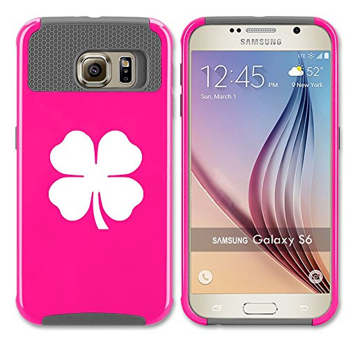 Samsung Galaxy S7 Shockproof Impact Hard Case Cover 4 Leaf Clover (Hot Pink-Grey ),MIP