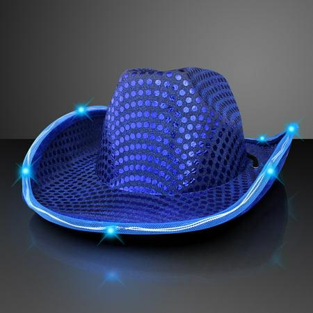 FlashingBlinkyLights Sequin Cowboy Hat with LED Brim - Led Lights Clothing