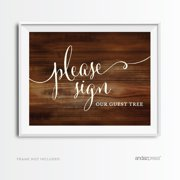 Sign Our Guest Tree Rustic Wood Wedding Party Signs