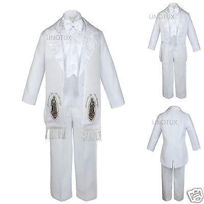6pc Baby Toddler Kid Boy Baptism Christening Formal Tuxedo Suit Stole White S-7](Boys White Suits)