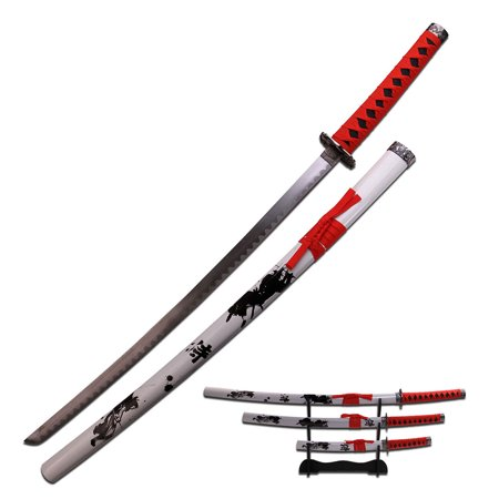 Samurai Katana Sword Set of 3 Red Wrap Handles Wht - Practice Sword Set