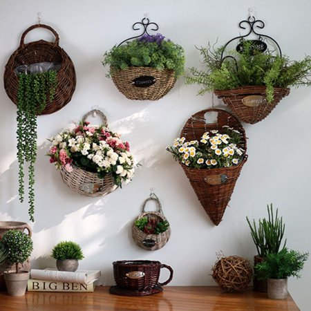Hot Sale Handmade Rattan Flower Pot Plant Stand Holder DIY Home Wall Hanging Seagrass Woven Wicker Basket Decor](Diy Halloween Basket)