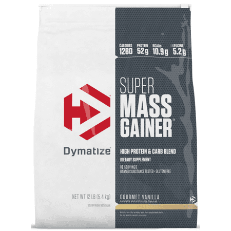 Dymatize Super Mass Gainer, High Protein & Carb Blend, Gourmet Vanilla, 52g Protein/Serving, 12