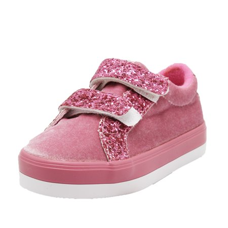 Dream Seek Girls Toddler 790 Hook and Loop Strap Light Weight Sequence Fashion Sneakers - (6 M US Toddler, Pink) - Toddler T Strap Shoes