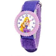 Disney Rapunzel Girls' Stainless Steel with Bezel Watch, Purple Nylon Strap