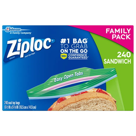Ziploc Sandwich Bags, 240 ct Sandwich Delivery Bag