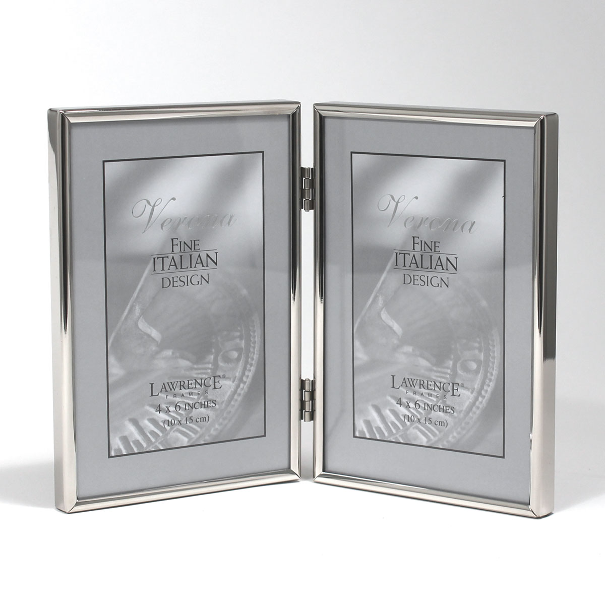 4x6 Hinged Double Simply Silver Metal Picture Frame