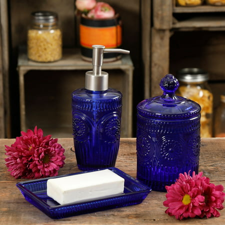 - The Pioneer Woman Adeline 3-Piece Cobalt Embossed Glass Soap Dish Set