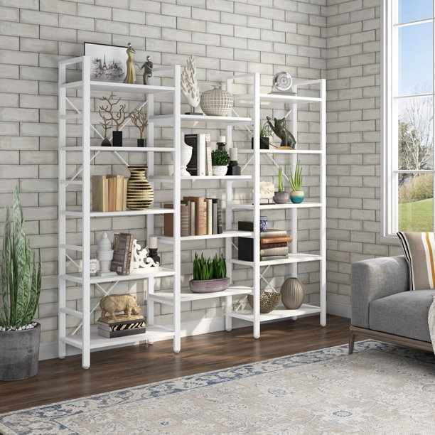 Tribesigns Industrial Large 5-Tier Bookshelves for Display and Storage, Modern Triple Wide 14 Shelves Etagere Bookcase with Metal Frame & Vintage Wood, White