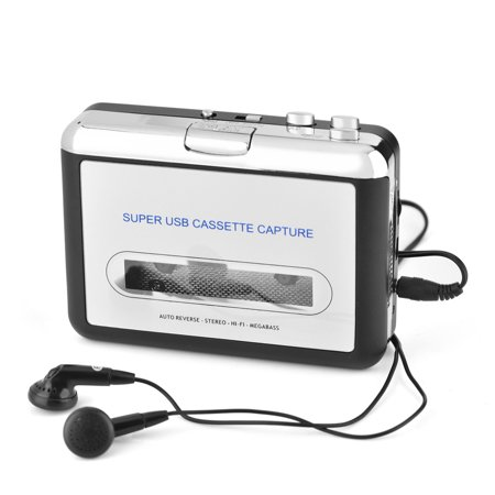 Ashata USB Cassette Tape to PC MP3 CD Switcher Converter Capture Audio Music Player with Headphones, cassette to mp3 converter, cassette