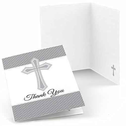 Delicate Blessings Cross   Baby Shower Or Baptism Thank You Cards (8 Count)