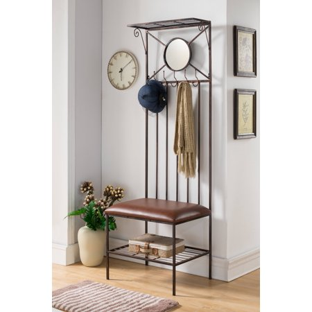 Corben Copper Metal Entryway Hallway Storage Bench Hall Tree Coat Rack With Mirror ()