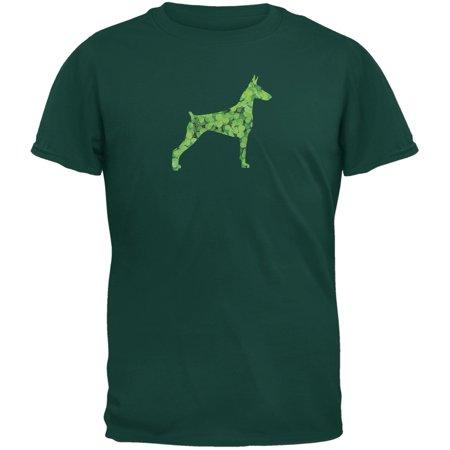 St. Patricks Day - Doberman Pinscher Shamrock Forest Green Adult T-Shirt