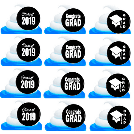 Class of 2019 Graduation Black Easy Toppers Cupcake Decoration Rings -24pk