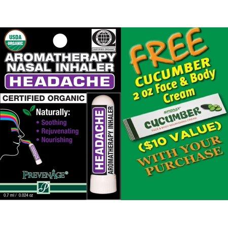 Organic Aromatherapy Headache Nasal Inhaler - Made with 100% Organic Essential Oils - 0.7 ml by