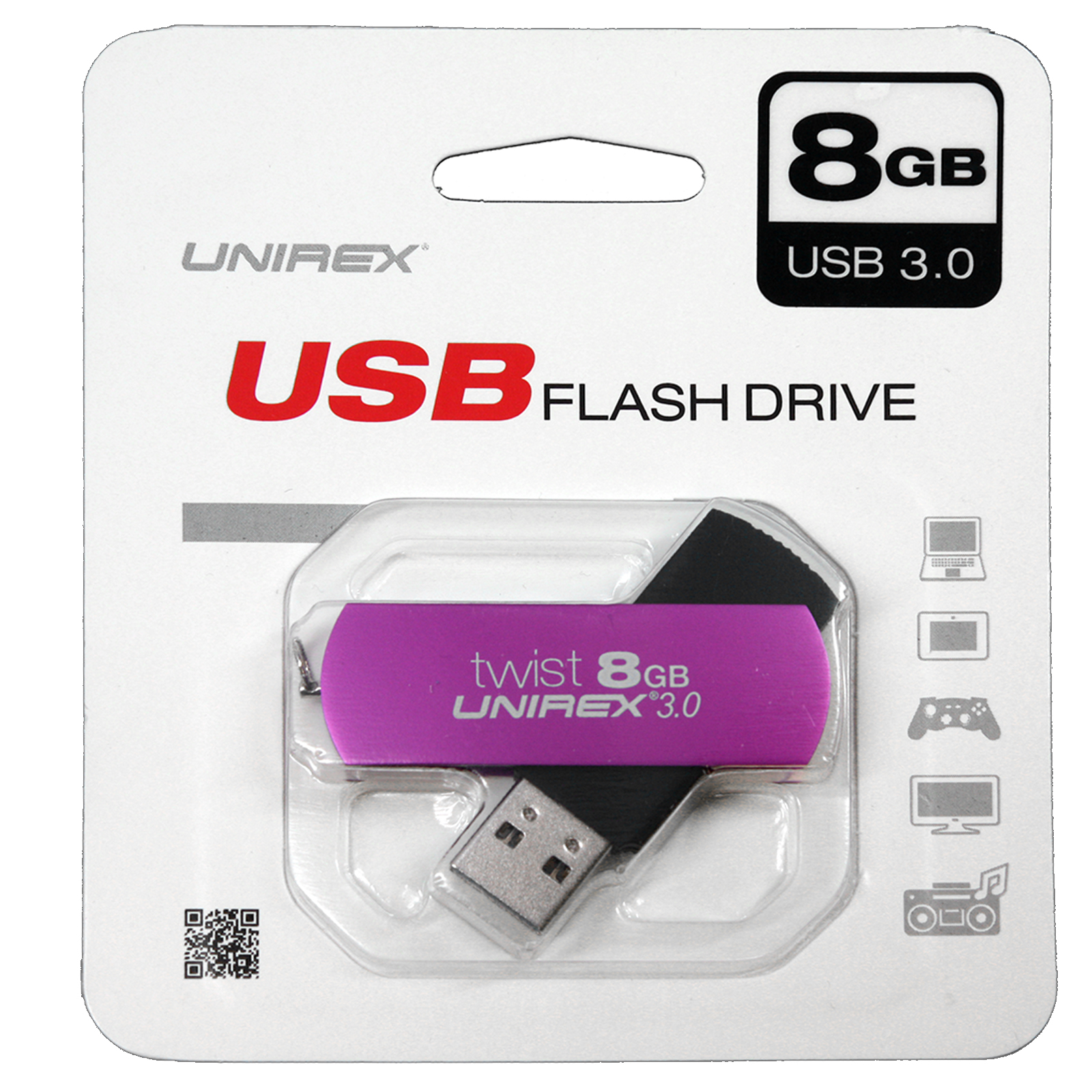 Unirex USB 2.0 8GB Flash Drive-Purple