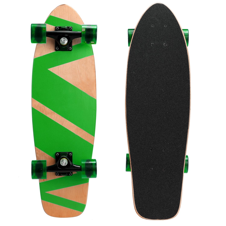 "Outdoor 27""Cruiser Style Skateboard Fun Wooden Deck Skate..."