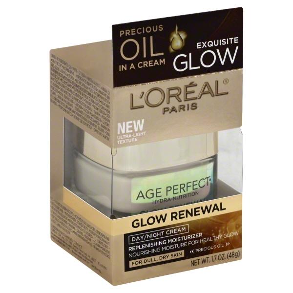 L'Oreal Paris Age Perfect Glow Renewal Replenishing Moisturizer Day/Night Cream, 1.7 oz