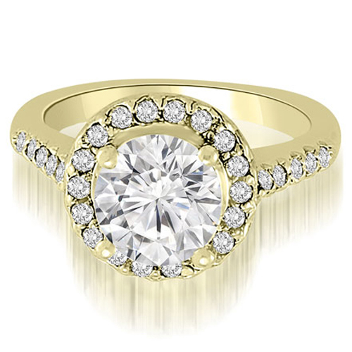"""1.05 cttw. 18K Yellow Gold Halo Round Cut Diamond Engagement Ring (I1, H-I)"""