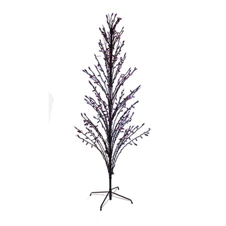 4' Purple LED Lighted Halloween Cascade Twig Tree Outdoor Decoration