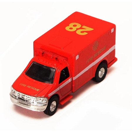 Rescue Series Ambulance - Fire Rescue, Red - Showcasts 9891/4D - 5 Inch Scale Diecast Model Replica (Brand New, but NOT IN BOX)