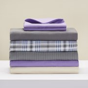 Mainstays Twin 200 Thread Count Fitted Blue Plaid Bed Sheet Set, 1 Each