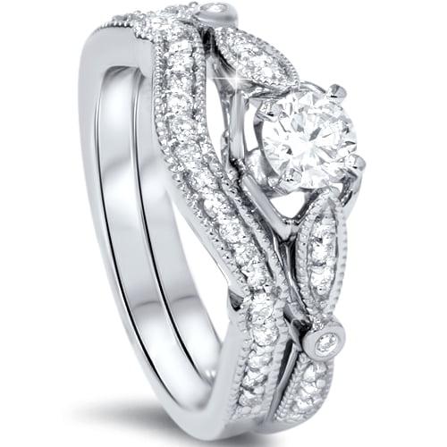 4ct diamond vintage engagement ring set white gold round antique